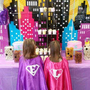 Twinning Birthday Supergirls! Emma and Lily are wearing the capeshellip